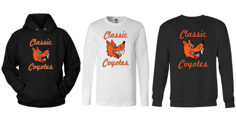 "Black and white clothing with an orange Coyote logo, the old WHS logo, and the words ""Classic Coyotes"""