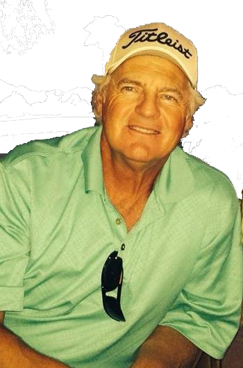 Smiling old man with white hair, a green button-up shirt with sunglasses hung in the collar. The man is wearing a Titlest hat.